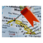 Map pin placed in Havana, Cuba on map, close-up Poster