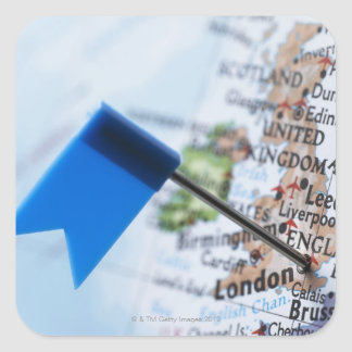 Map pin placed in London, UK on map, close-up Square Sticker
