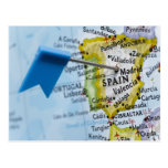 Map pin placed in Madrid, Spain on map, close-up Post Card