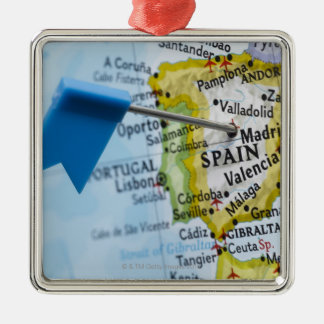 Map pin placed in Madrid, Spain on map, close-up Silver-Colored Square Ornament