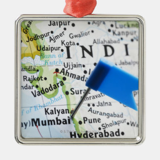 Map pin placed in Mumbai, India on map, close-up Silver-Colored Square Ornament
