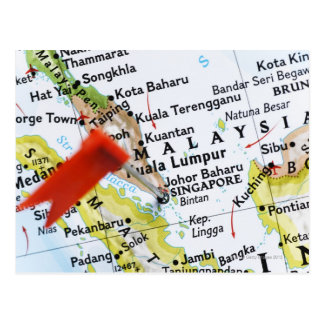 Map pin placed in Singapore on map, close-up Postcard
