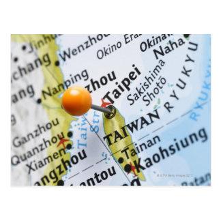 Map pin placed in Taipei, Taiwan on map, Postcard