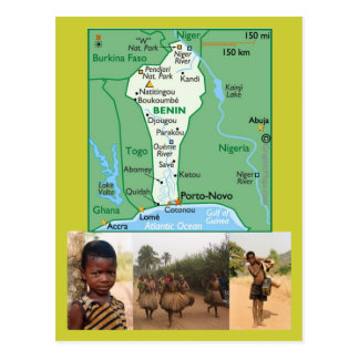 Map Postcard of Benin