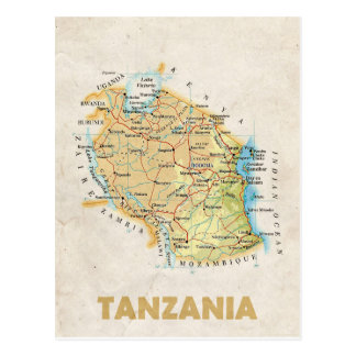 MAP POSTCARDS ♥ Tanzania