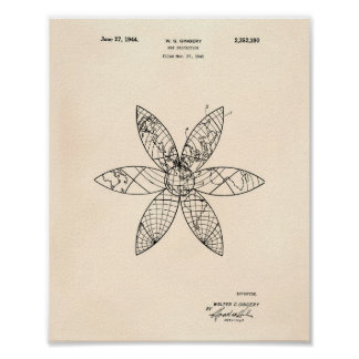 Map Projection 1942 Patent Art Old Peper Poster
