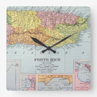 MAP: PUERTO RICO, 1900 WALL CLOCK
