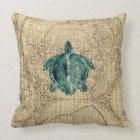 Map Sealife Green Turtle Illustration Coastal Throw Pillow