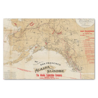 Map Showing Routes from San Francisco to Alaska Tissue Paper