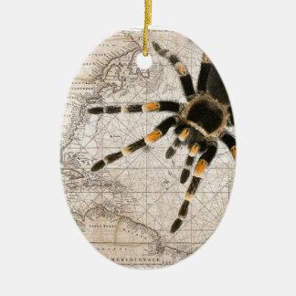 map spider ceramic oval ornament