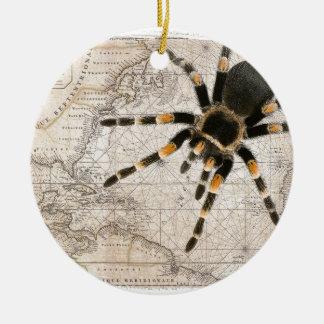 map spider round ceramic ornament