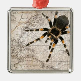 map spider Silver-Colored square ornament