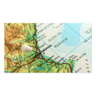 Map with pin pointing to city of Valencia in Spain Business Card