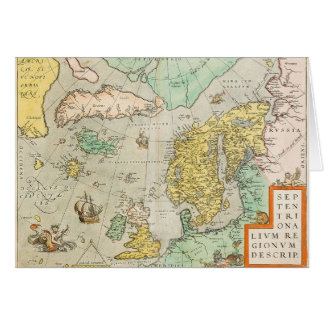Map with Sailing Ships Card