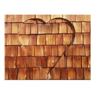 Map wood heart postcard