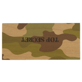 Maple, 8gb, Rectangle top secret camouflage Wood USB 3.0 Flash Drive