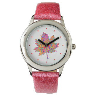 Maple Leaf Action Painting Splatter Watch