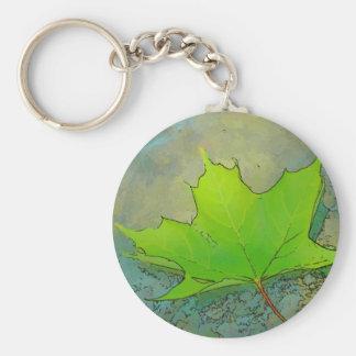 Maple Leaf Basic Round Button Keychain