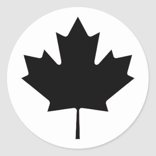 Maple Leaf Black Transp The MUSEUM Zazzle Gifts Round Stickers
