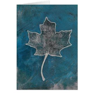 Maple Leaf Blue Monoprint Greeting Card