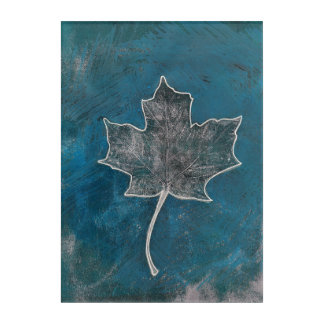 Maple Leaf Blue Monoprint Wall Art