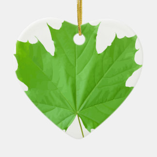 Maple Leaf Ceramic Heart Ornament