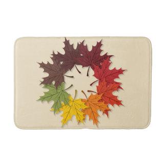 Maple leaf circle bathroom mat