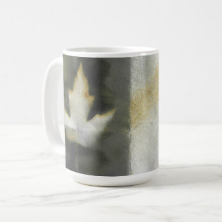 Maple Leaf Design Natural Ink Handmade Art Coffee Mug