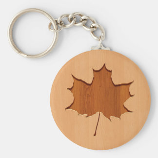 Maple leaf engraved on wood design basic round button keychain
