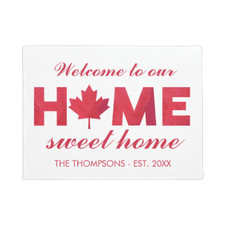Maple Leaf Home Sweet Home Family Name Doormat