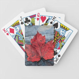 Maple leaf on ice bicycle playing cards