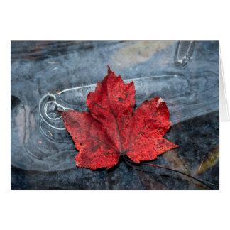 Maple leaf on ice card