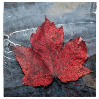 Maple leaf on ice napkin
