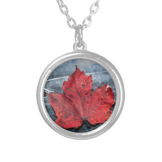 Maple leaf on ice silver plated necklace