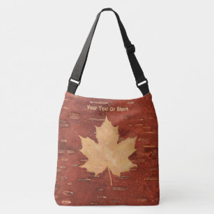 Maple Leaf On Inner Birch Bark Crossbody Bag