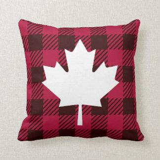 Maple leaf on plaid throw pillow