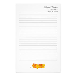 Maple Leaf Personalized Fall Theme Writing Paper
