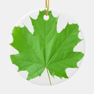 Maple Leaf Round Ceramic Ornament