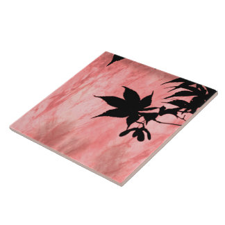 Maple Leaf Silhouette Red Marble Tile