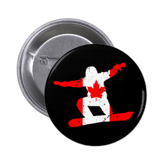 Maple Leaf SNOWBOARDER (blk) 2 Inch Round Button