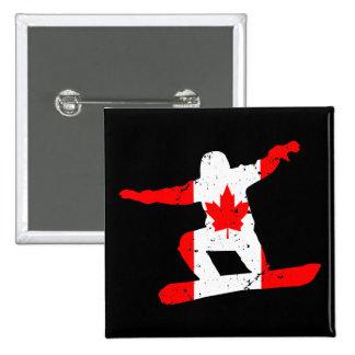 Maple Leaf SNOWBOARDER (blk) 2 Inch Square Button