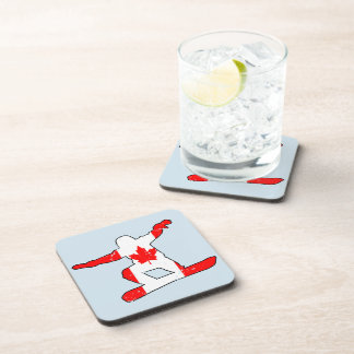 Maple Leaf SNOWBOARDER (blk) Drink Coasters