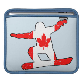 Maple Leaf SNOWBOARDER (blk) iPad Sleeve