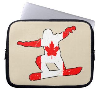 Maple Leaf SNOWBOARDER (blk) Laptop Sleeve