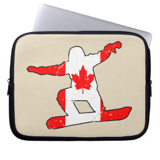 Maple Leaf SNOWBOARDER (blk) Laptop Sleeves