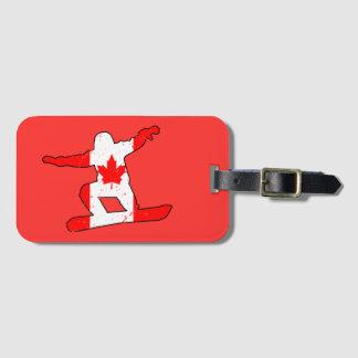 Maple Leaf SNOWBOARDER (blk) Luggage Tag