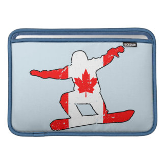 Maple Leaf SNOWBOARDER (blk) MacBook Sleeves