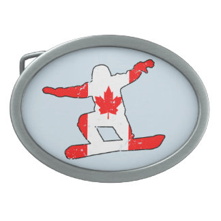 Maple Leaf SNOWBOARDER (blk) Oval Belt Buckle