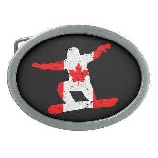 Maple Leaf SNOWBOARDER (blk) Oval Belt Buckles