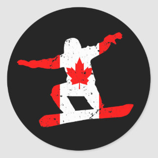 Maple Leaf SNOWBOARDER (blk) Round Sticker